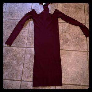 Long sleeve shoulder out collar neck bodycon dress